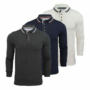 Mens-Polo-T-Shirt-Brave-Soul-Kennedy-Long-Sleeve-Cotton-Pique-Casual-Top