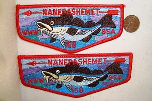 MERGED-OA-NANEPASHEMET-LODGE-158-52-BSA-YANKEE-CLIPPER-PATCH-FISH-SMALLER-FLAP