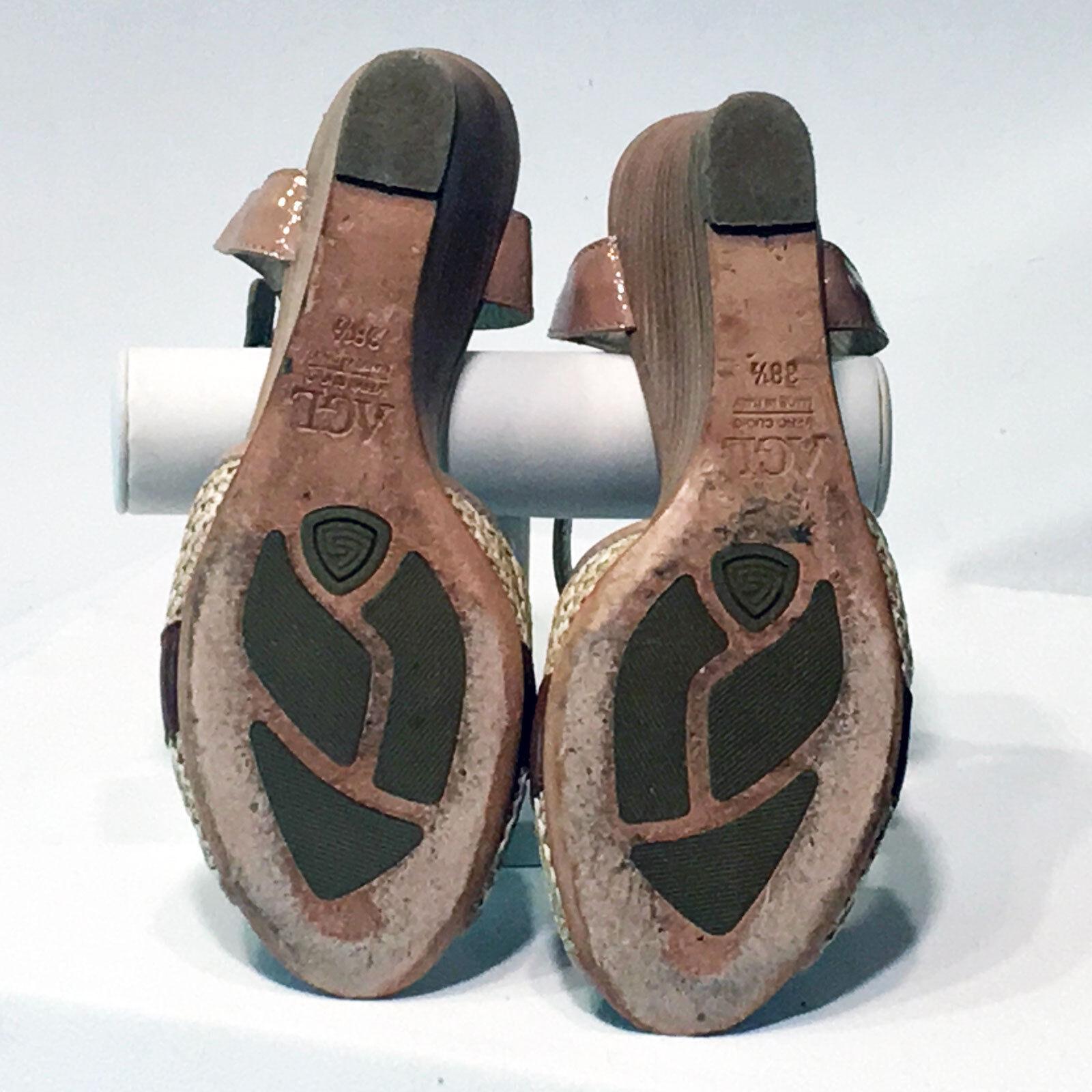 AGL Attilio Giusti Leombruni   Beige Patent Leather Leather Leather Wedge Heels – Größe 38.5 M 991aac