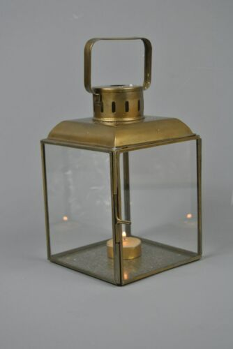 Vintage style Antique Gold Glass Tealight Candle Lantern
