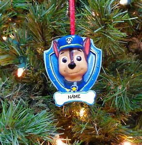 image is loading paw patrol chase personalized christmas tree ornaments - Paw Patrol Christmas Decorations