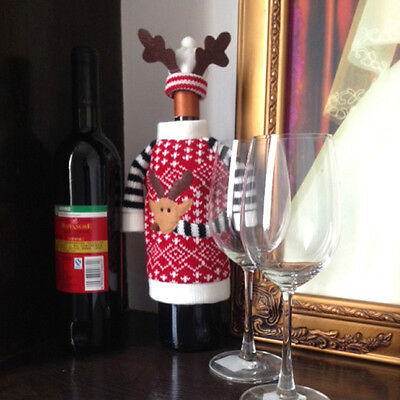 Wine Bottle Cover Xmas Santa Deer Table Decor Christmas Bottle Cap Party Gifts