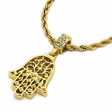 "Mens 14K Gold Plated Hamsa Hand Pendant Hip-Hop 4 mm/24"" Rope Chain pendant"