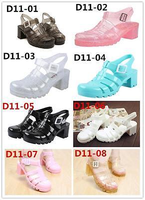 D11 Fashion Cute Lady's Retro Jelly Slingback Sandals Shoes Rubber Sole Shoe US