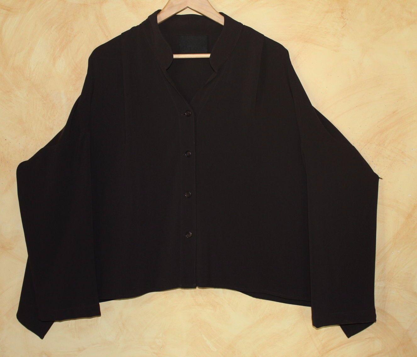 BLANQUE Cocoa braun Sculptural Flowing Art-to-Wear Lagenlook Shirt Jacket 1 O S