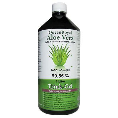 QueenRoyal Aloe Vera Trink Gel 99.55 % pur, IASC - Qualität, 1 Liter Flasche