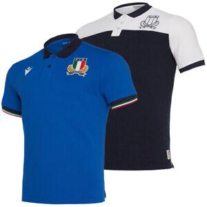 Italien FIR macron Herren Freizeit Sport Fan Rugby Kurzarm Langarm Polo-Shirt