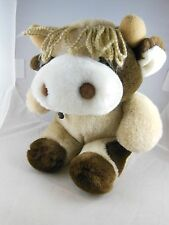 "Very Cute 10"" HTF Vintage cow Plush Soft Yarn Hair Quality  Korea"
