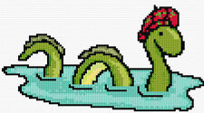 "Nessie, Loch Ness Monster - Scottish Mini Cross Stitch Kit 8"" x 4.4"" - 14 Count"
