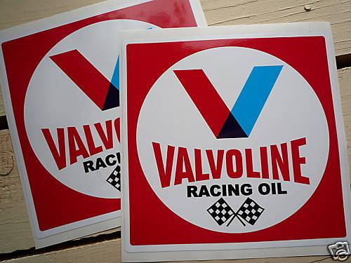 """Valvoline carré rouge voiture de course autocollants 6/"""" paire classic racing huile moto"""