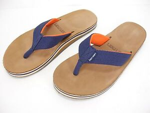 HARI MARI SCOUTS NAVY BLUE & ORANGE FLIP FLOPS THONGS SANDALS MEN'S 8