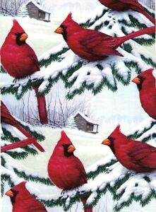 """RED CARDINALS EXTRA WIDE CHRISTMAS GIFT WRAP PAPER - 30""""x25' Roll"""