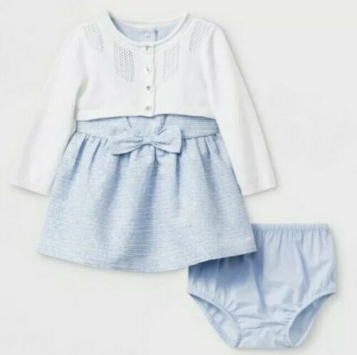 NWT Cat /& Jack Baby Girls Jacquard Dress with white Cardigan Sweater 6-9 Months