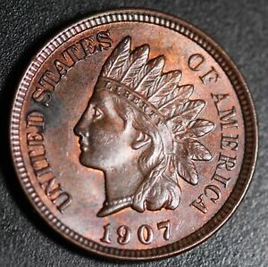 1907-INDIAN-HEAD-CENT-BU-UNC-With-CARTWHEELING-MINT-LUSTER