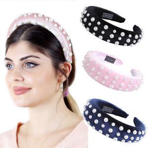 Women-039-s-Velvet-Pearl-Headband-Padded-Hairband-Creative-Hair-Hoop-Accessories