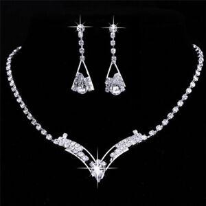 Women-Sparkling-V-Shaped-Rhinestone-Crystal-Necklace-Earrings-Jewelry-Set-Cha-MW