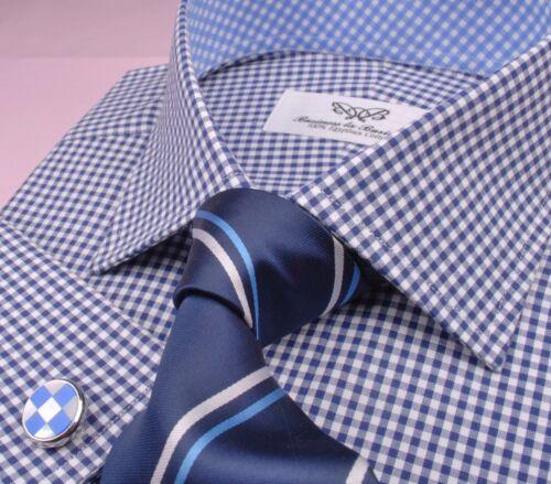 Great Mens Navy Plaids & Checks Business Shirt Light Blue Boss Formal Dress Top