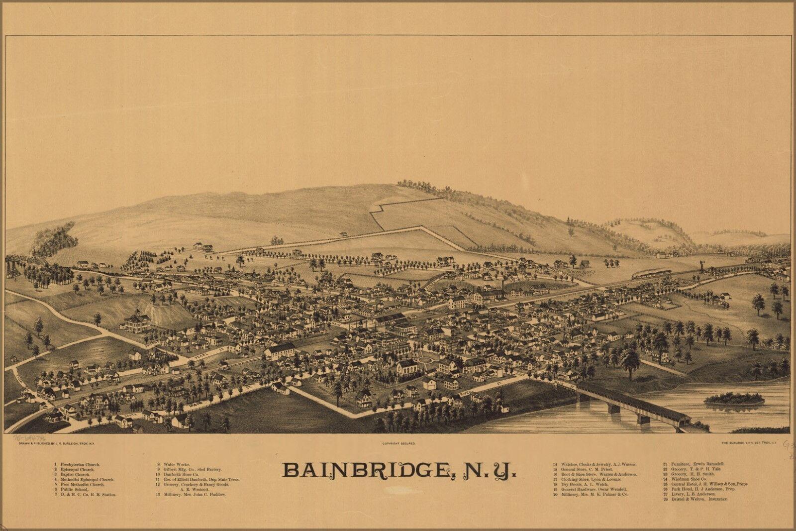 Poster, Molte Misure; Birdseye Birdseye Birdseye Vista Mappa Del Bainbridge, N.y. b9c31f