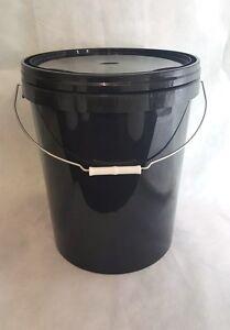 25-Litre-Ltr-Litre-Black-Plastic-Bucket-Container-with-Tamper-evident-Lid-x-1