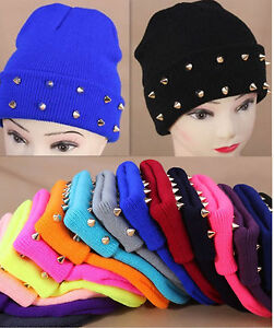Unisex-Beanie-Hat-Cone-Spikes-Studded-Punk-Rivet-Warm-Knitted-Candy-Cap-14Colors
