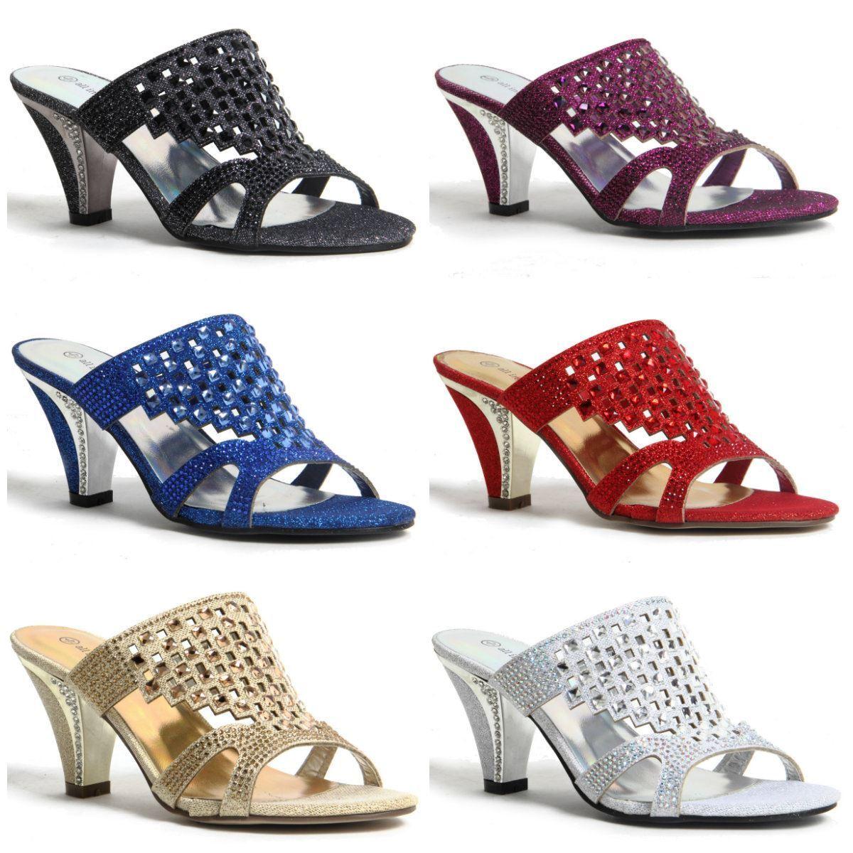 Womens Ladies Sparkling Diamante Block Heel Party Shoes Slip On Sandals