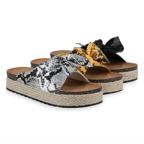 Damen Sandaletten Pantoletten Plateau Sandalen Print Plateauschuhe 831092 Schuhe