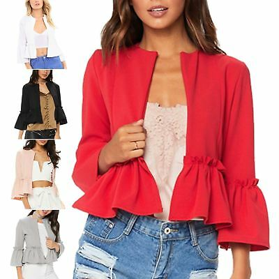 Women Ladies Ruffle Frill Bell Sleeve Open Front Peplum Coat Blazer Crop Jackets