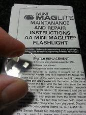 New Maglite AA Mini Mag Flashlight Clear Plastic Lens PART 108-000-046