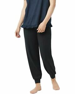 AnyBody-Womens-Cozy-Knit-Ruffle-Jogger-Pants-Medium-Black-A353768