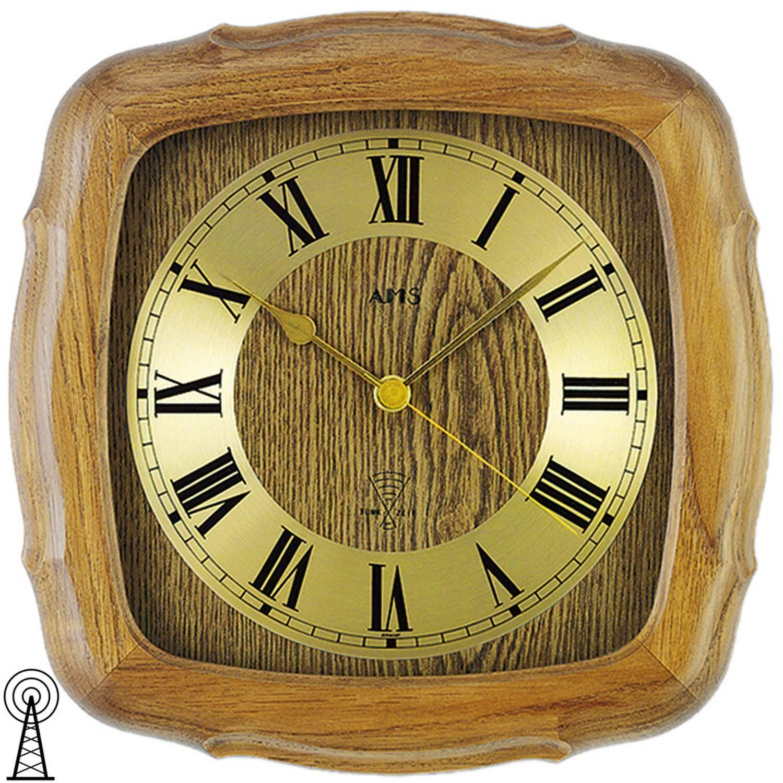 AMS 5932 4 Wanduhr Funk Funkwanduhr analog golden Holz Eiche massiv