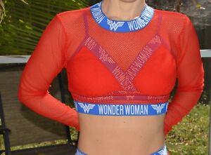 c76d1fefe36c2 DC Comics Wonder Woman mesh transparent long sleeve rash guard Size ...