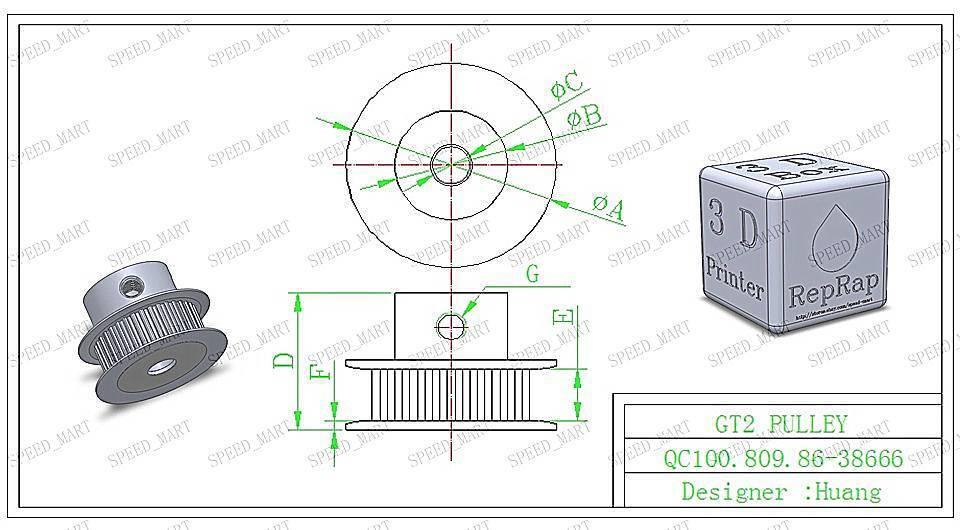 RepRap 2X GT2 15T 5mm Bore Pulleys /& 158-2GT Timing Belt Prusa Mendel 3D Printe