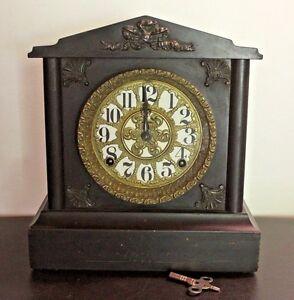 Antique Ingraham Shelf Mantel Clock Working
