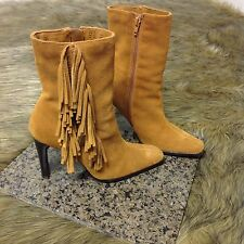 Predictions Sz 6 M Brown Suede Leather Fringe Zip-Up Heel Ankle Boots Very Cute!