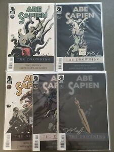 ABE-SAPIEN-THE-DROWNING-1-5-COMPLETE-SET-Jason-Shawn-Alexander-Autographed-VF