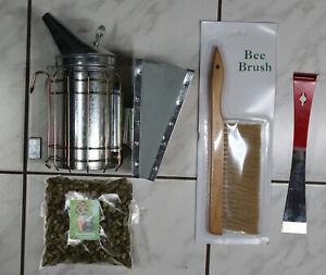 Imker Smoker Set inkl. Rauchmittel Bienenbesen Stockmeißel abgewinkelt Imkerei