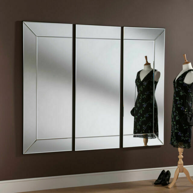 All Glass Modern 3 Panel Wall Mirror, Large Wall Mirror Uk