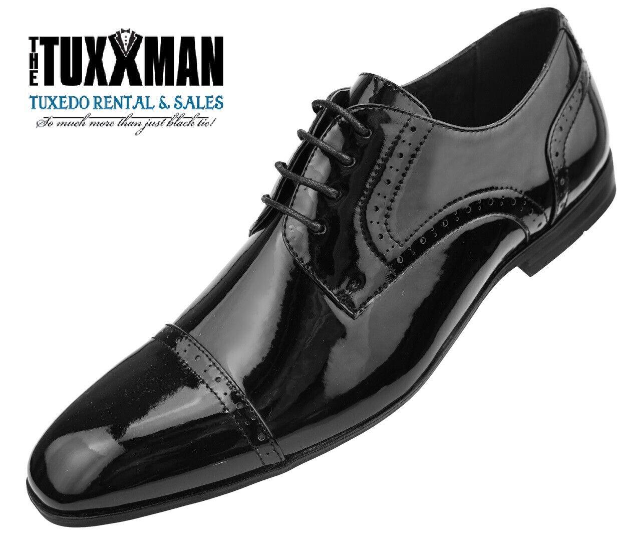 New Mens Black Patent Shiny Cap Toe Classic Tuxedo Dress shoes TUXXMAN Tux