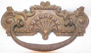 Victorian-Pressed-Brass-Drawer-Pull-Fan-amp-Scroll-Cast-Iron-Bail-Antique-Bureau-1