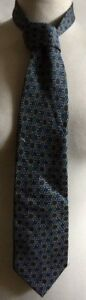 Genial Mens Blue And Yellow Floral Block Print Silk Tie