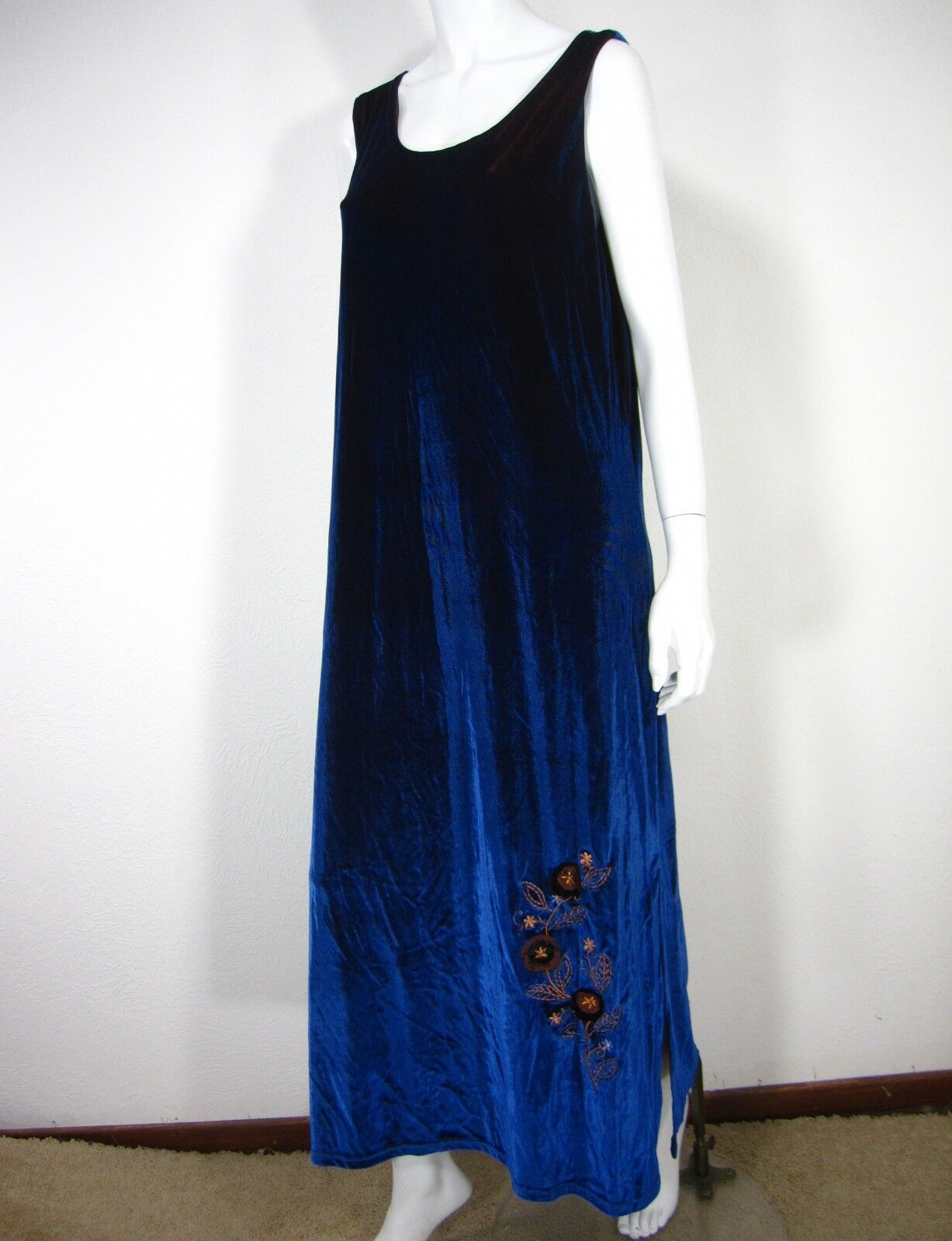 df211b4583 ISABELLA By By By Shawn Vintage Sleeveless Velour Dress Size L Large Solid  bluee Maxi 82aa05