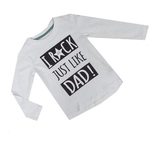 New Ex Dunnes White /'I Rock Just Like Dad/' Long Sleeved Top T-Shirt 6-24months