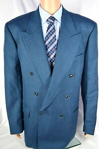 Mens LUBIAM Blue double breasted sport coat sz 46 XL US 56XL Euro