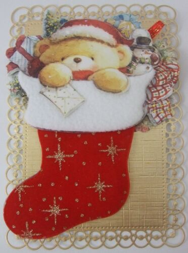 Extra Large//Gold//Red//Christmas Stocking 1 x Childrens Christmas card Topper