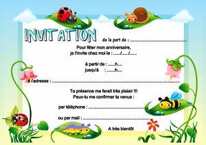 5-12-ou-14-cartes-invitation-anniversaire-coccinelle-abeille-ref-455