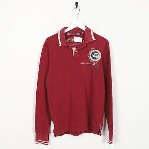 Vintage-NAPAPIJRI-Front-Logo-Long-Sleeve-Polo-Shirt-Top-Red-Small-S