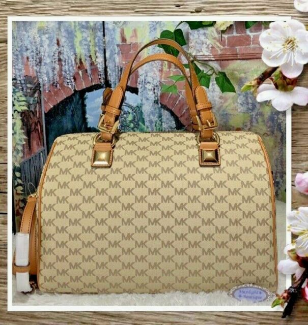 8316dfd5ea13 NWT MICHAEL KORS GRAYSON LARGE Satchel Bag In NATURAL/ACORN MK Sig PVC  Leather