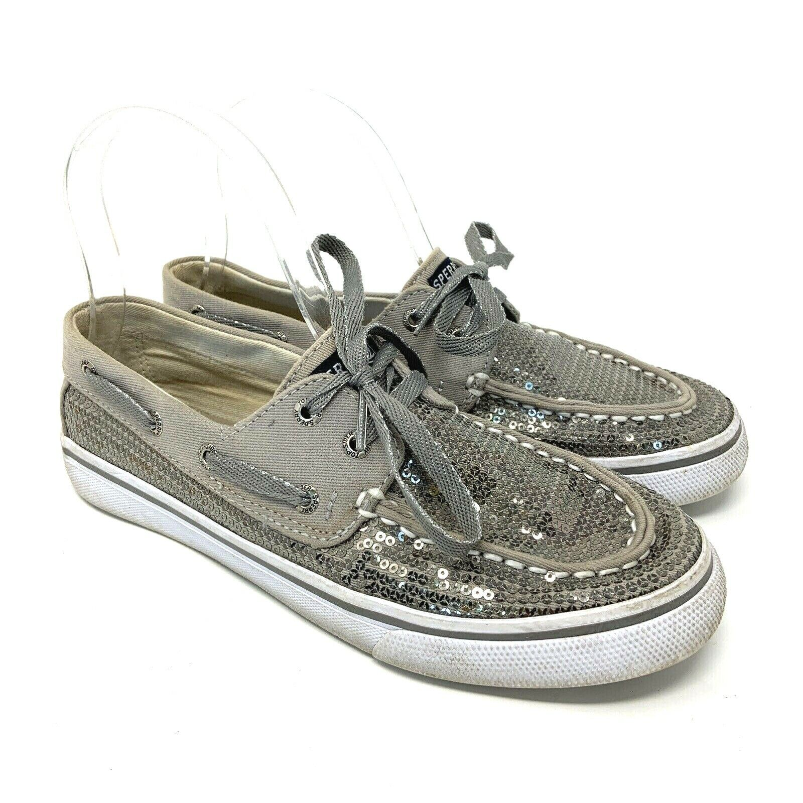 Sperry Top Sider Womens Shoe Size 4 Gray Silver Sequin Boat Deck Lace up Loafer