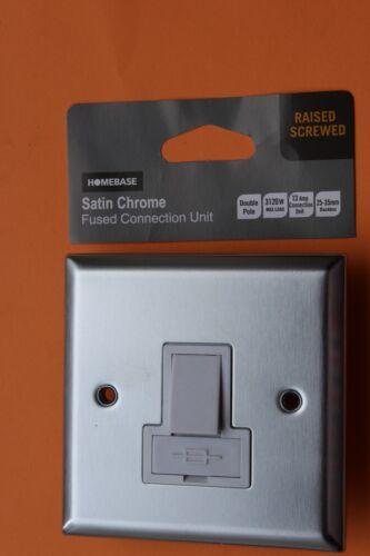 Homebase Satin//chrome brossé 13 A DP 1 G Switched Fused Connection UNIT Blanc Ins
