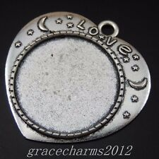 50173 Antique Silver Alloy Oval Tray Setting Base Pendant Charms Jewelry 16pcs